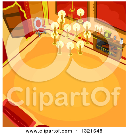 Clipart of a High View of a Castle Hallway Interior.