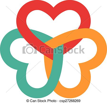 Clip Art Vector of Three hearts interlaced logo.