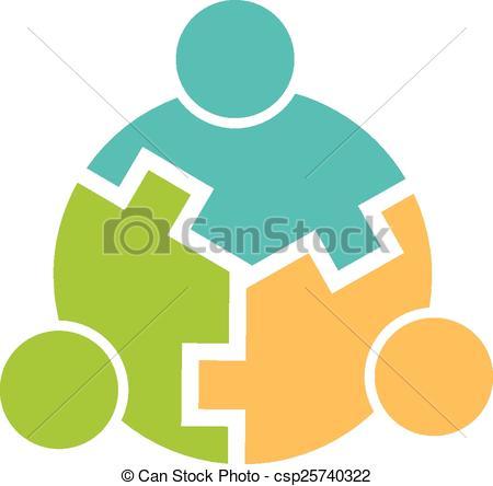 Vector Illustration of Teamwork 3 circle interlaced logo.