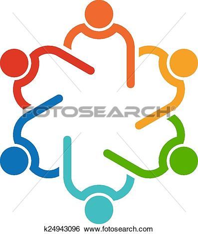 Clip Art of Teamwork 6 circle interlaced.Concept group of.