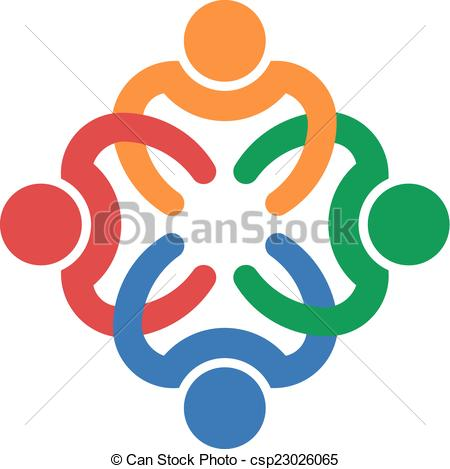 Clip Art Vector of Teamwork interlaced of four people.