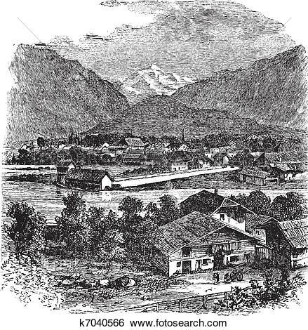 Clip Art of Interlaken and Jungfrau Switzerland vintage engraving.