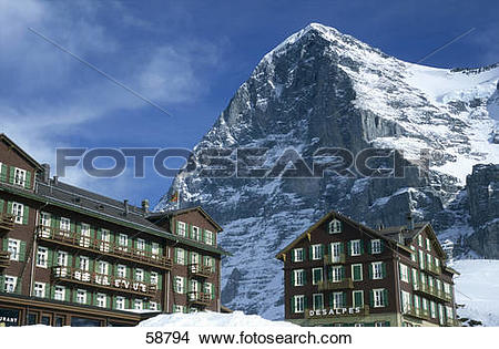 Stock Photo of Hotels in front of mountain, Eiger, Bernese Alps.