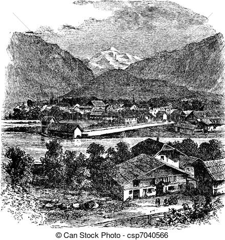Clip Art Vector of Interlaken and Jungfrau Switzerland vintage.