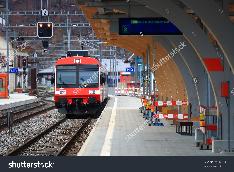 Train Station In Interlaken Switzerland Stock Photo 55294114.