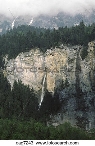 Stock Photo of Waterfall in the SWISS ALPS of the INTERLAKEN.