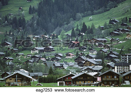 Stock Photo of CHALETS in the INTERLAKEN AREA of the SWISS ALPS.