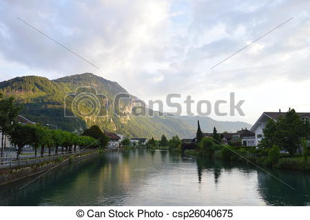 Stock Illustrations of city of Interlaken.