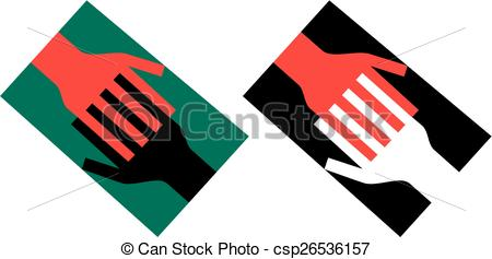 Clipart Vector of Linked hands.