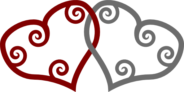 Red Silver Maori Hearts Interlinked clip art Free Vector / 4Vector.