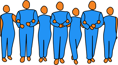 Vector image of interlinked business people.