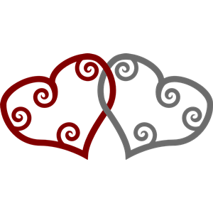Red & Silver Maori Hearts Interlinked clipart, cliparts of Red.
