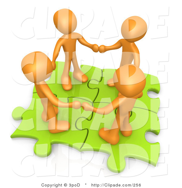 Clip Art of Four Orange People Grasping Hands While Standing on.