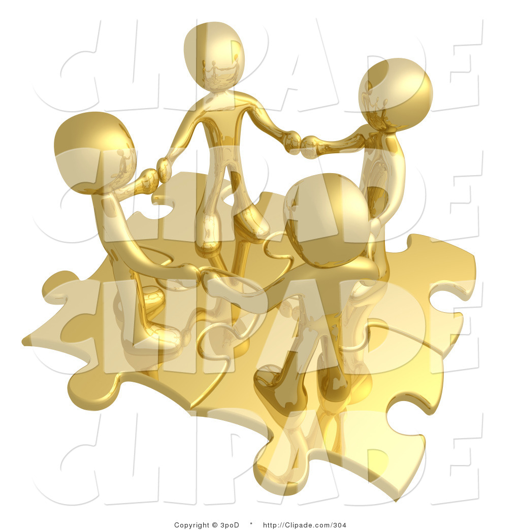 Clip Art of Four Golden People Holding Hands While Standing on.