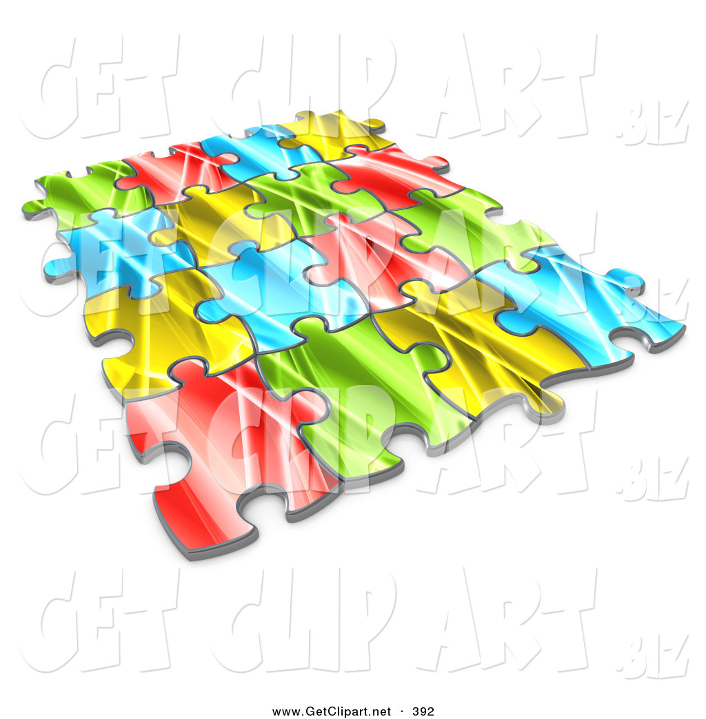 3d Clip Art of Pieces of a Colorful Jigsaw Puzzle Connected over a.