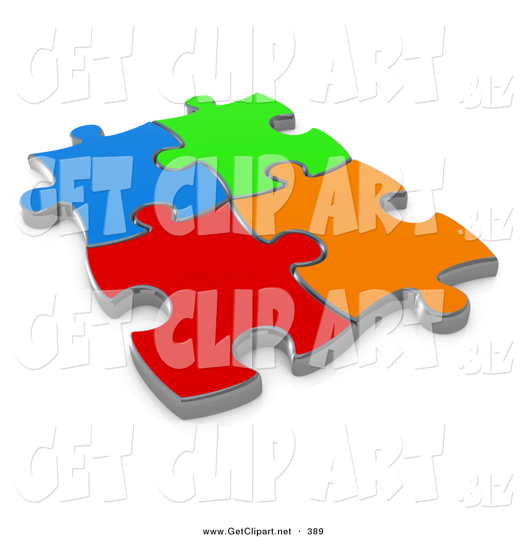 3d Clip Art of 4 Different Colored Puzzle Pieces Connected over a.
