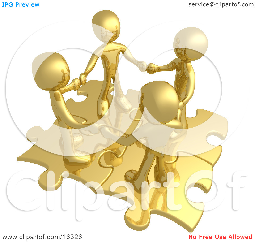 Four Gold People Holding Hands While Standing On Connected Gold.