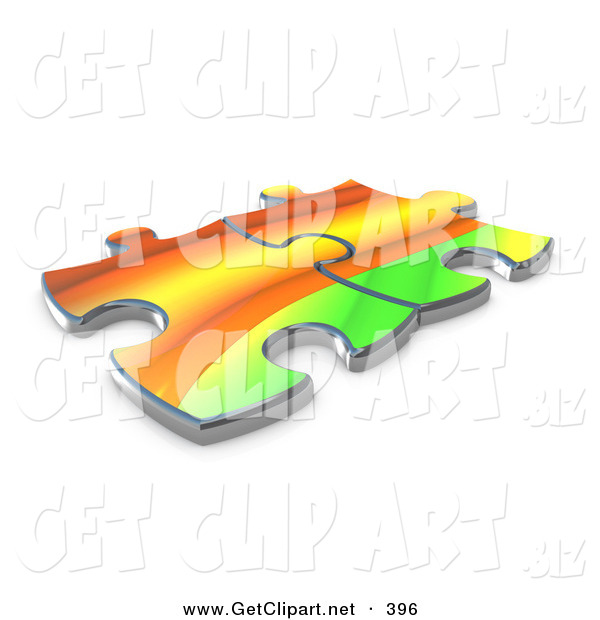 3d Clip Art of a Pair of Colorful Puzzle Pieces Connected over a.
