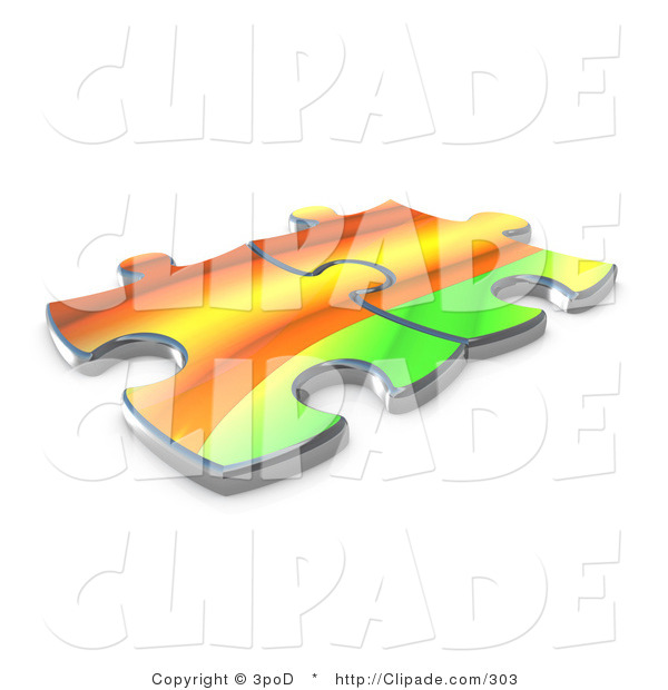 Clip Art of Two Colorful Rainbow Puzzle Pieces Connected over a.