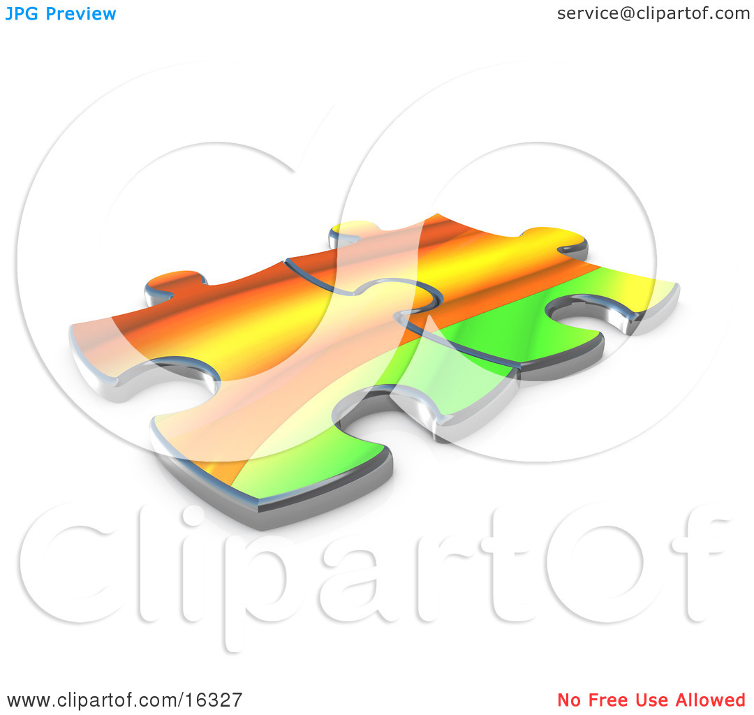 Two Colorful Puzzle Pieces Connected Over A White Background.