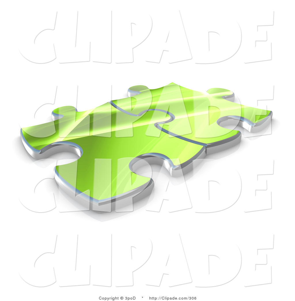 Clip Art of Two Green Puzzle Pieces Interlocking over a White.