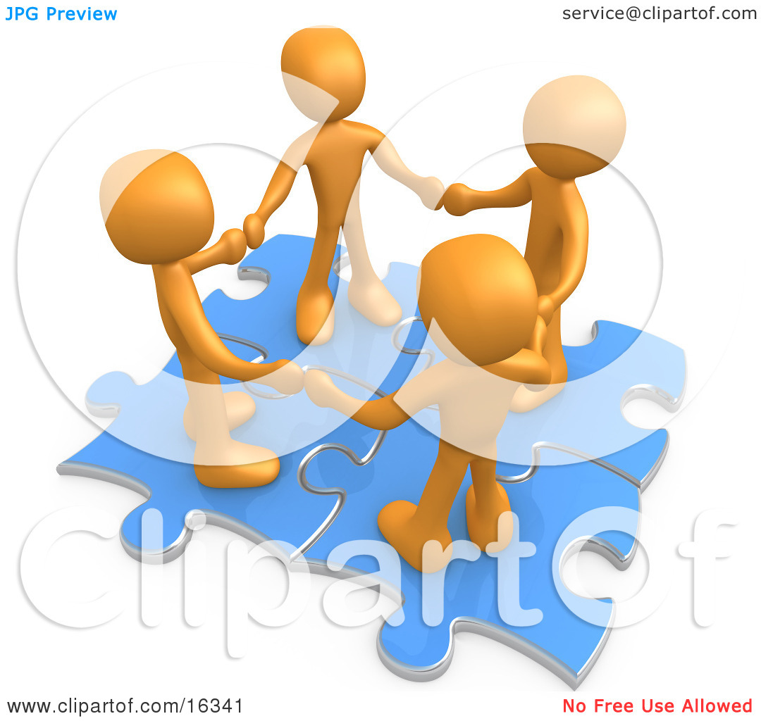 Four Orange People Holding Hands While Standing On Connected Blue.