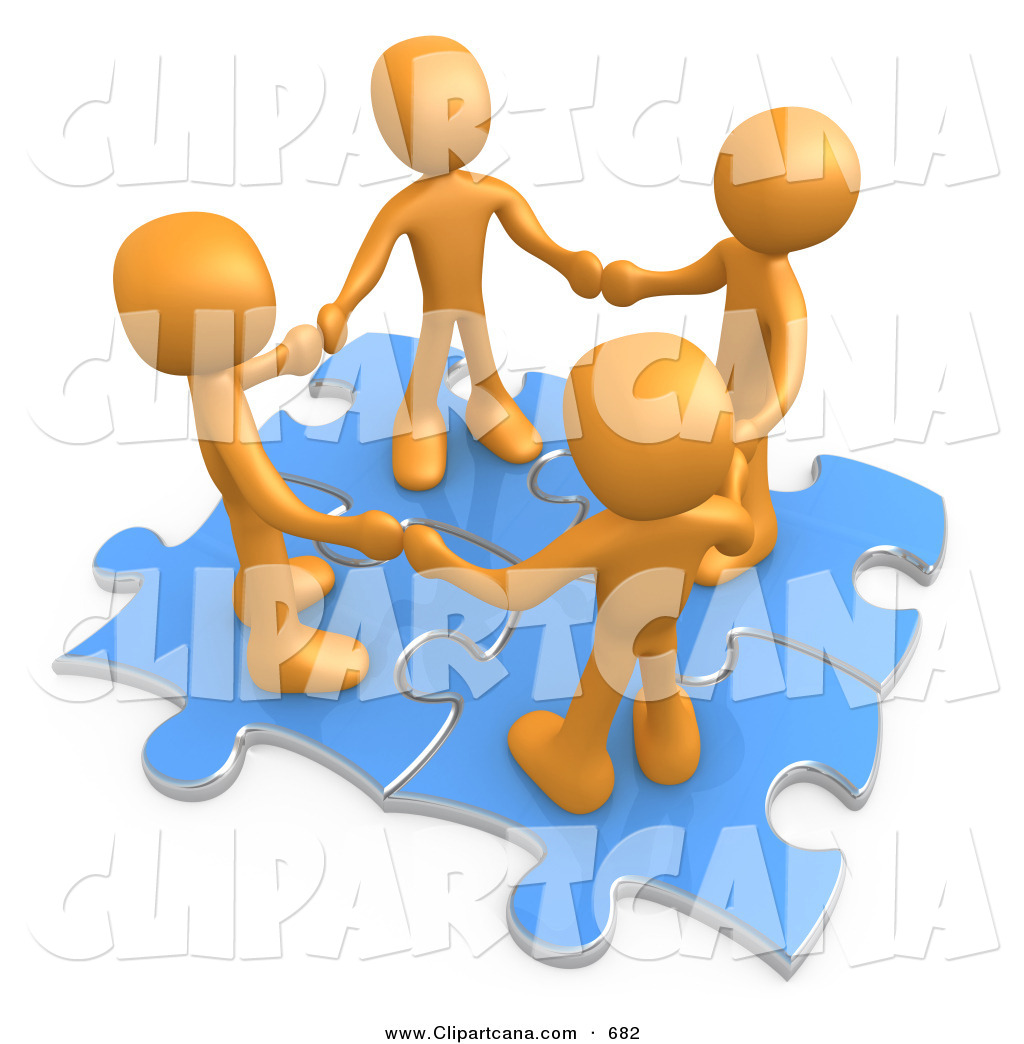 Clip Art of a Team of Four Orange People Holding Hands While.