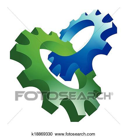 Interlocking gears Clipart.