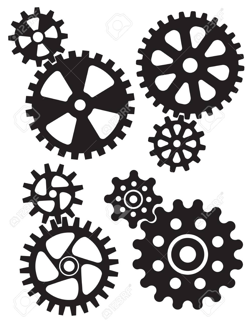 Set of interlocking gears and cogs design..