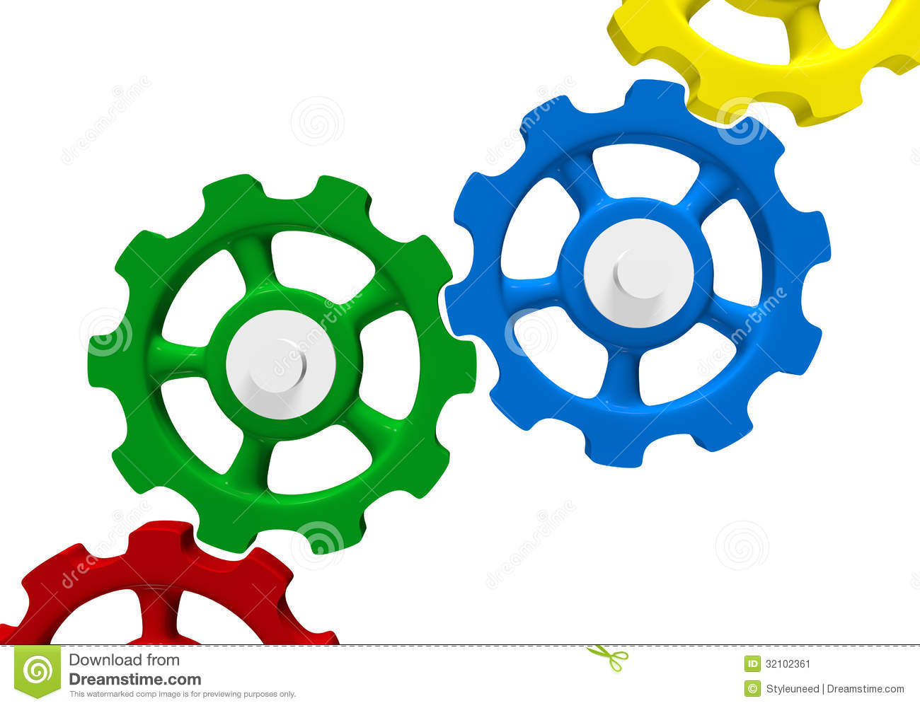Colored interlocking gears stock illustration. Illustration of.
