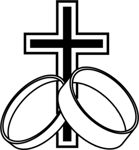 Interlocking Wedding Bands Clipart With Cross.