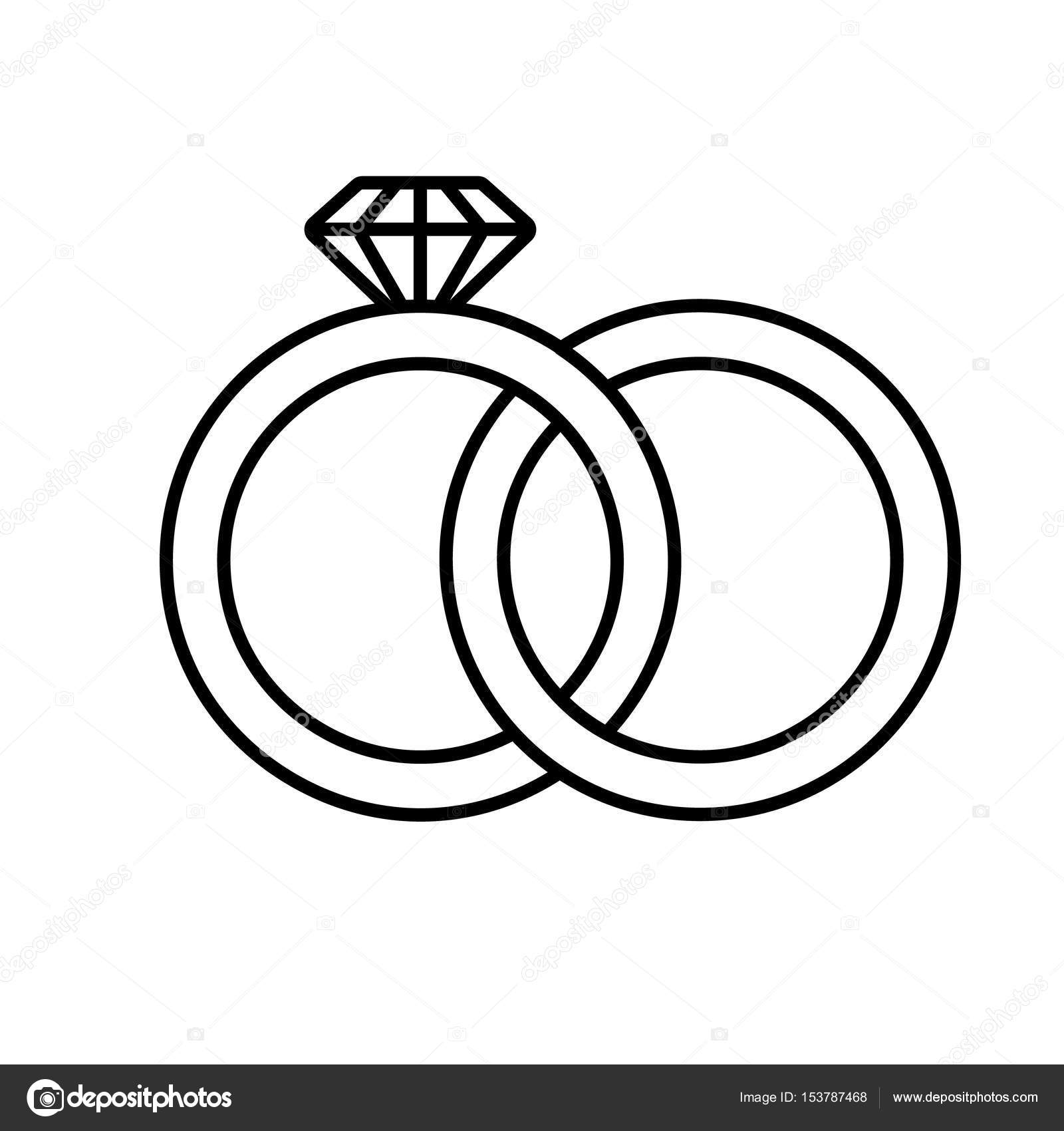 Clipart: how to draw interlocking wedding rings.