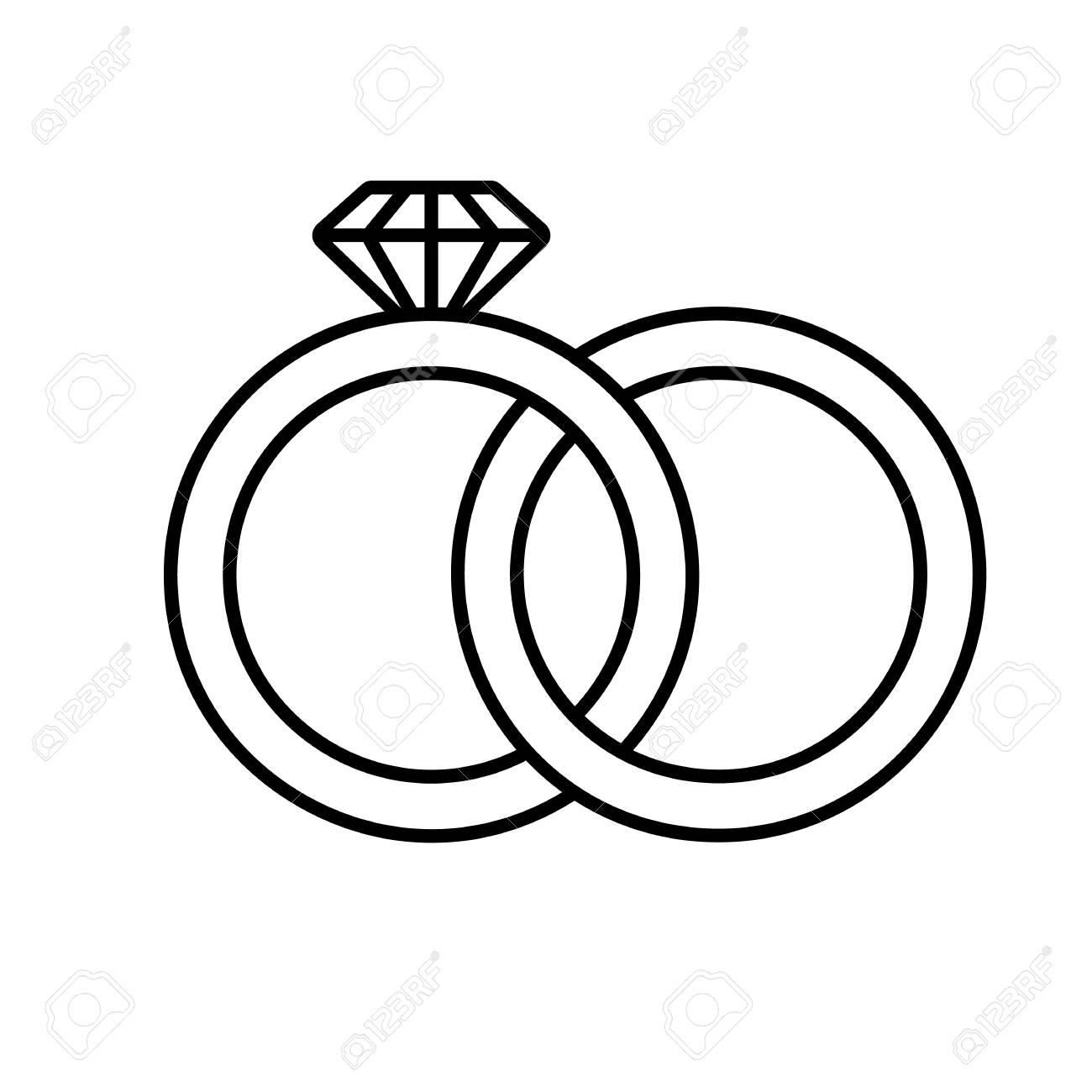 Wedding rings linear icon. Thin line illustration. Interlocked...