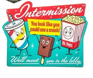 Details about Intermission Embossed Sign Movie Theater Wall Art Home Decor  SIGN New.
