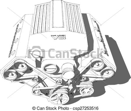 Vector Clip Art of The internal combustion engine. Powerful eight.