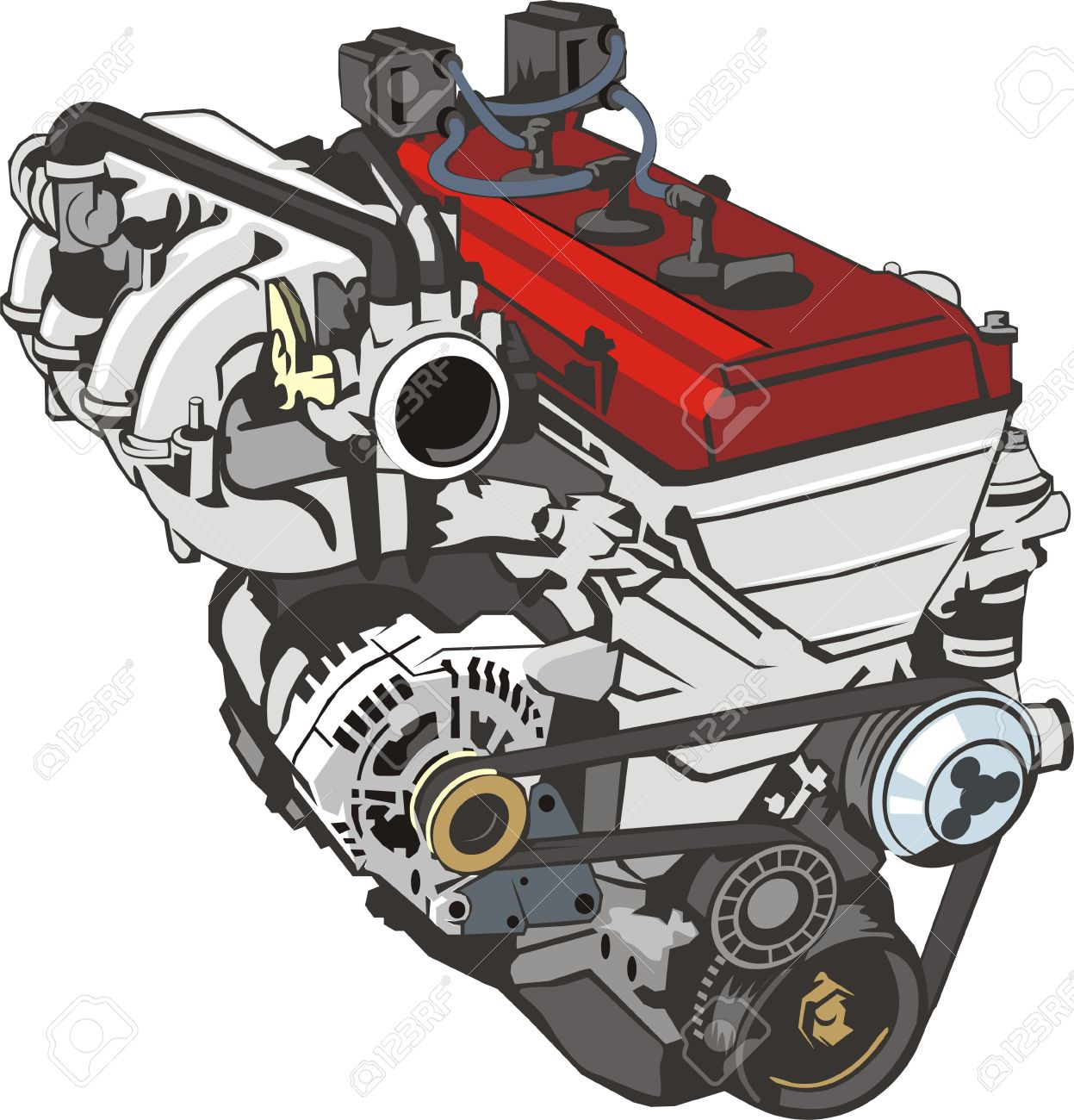 Engine Of Internal Combustion Frontal Royalty Free Cliparts.