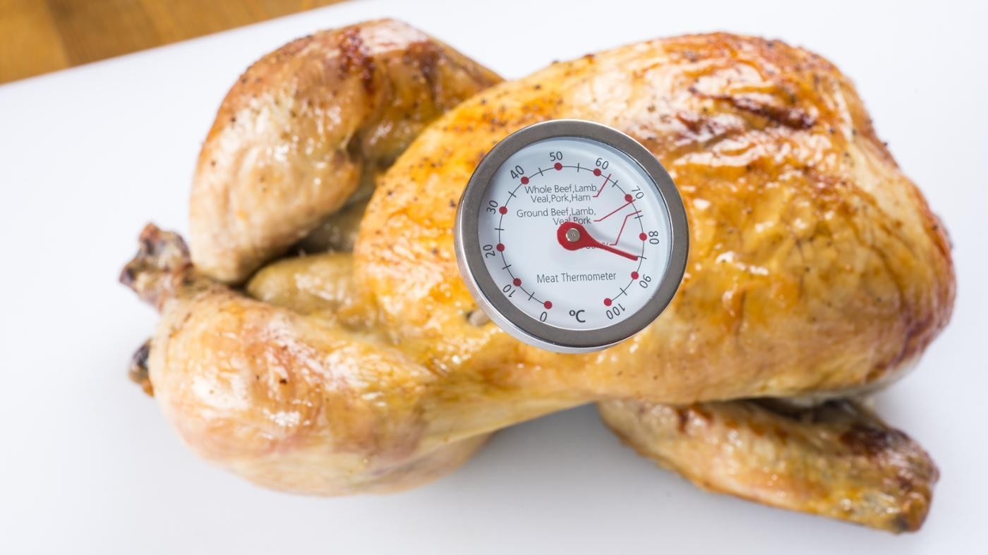 How do you check the internal temperature of a cooked chicken.