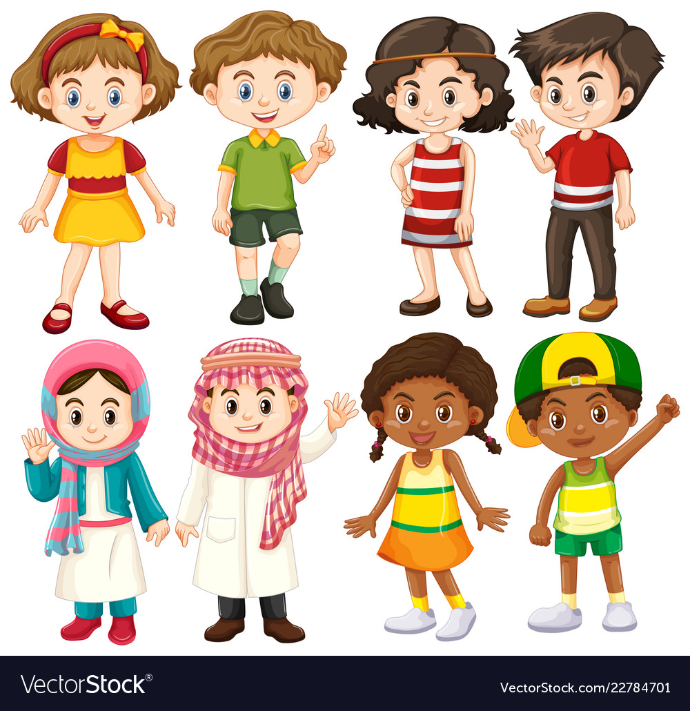 Group of international children character.