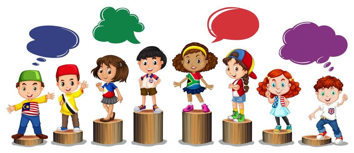 International children standing on log.