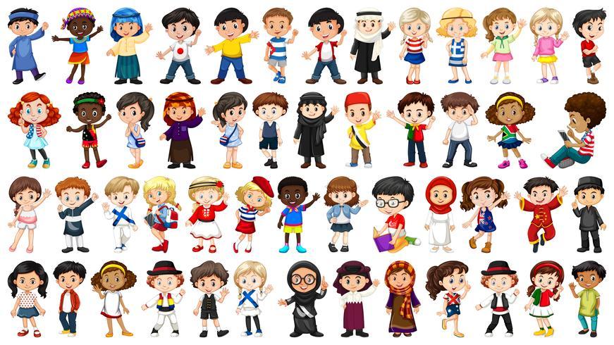 Set of international children character.