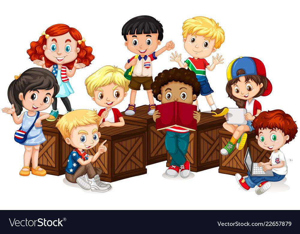 Group of international children.