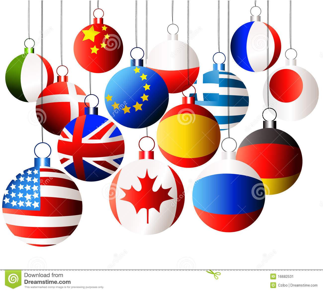 International Christmas Balls Stock Vector.