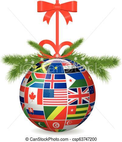 Merry Christmas ball International flags.Vector.