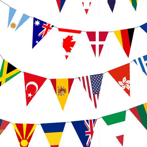 International flag banner.