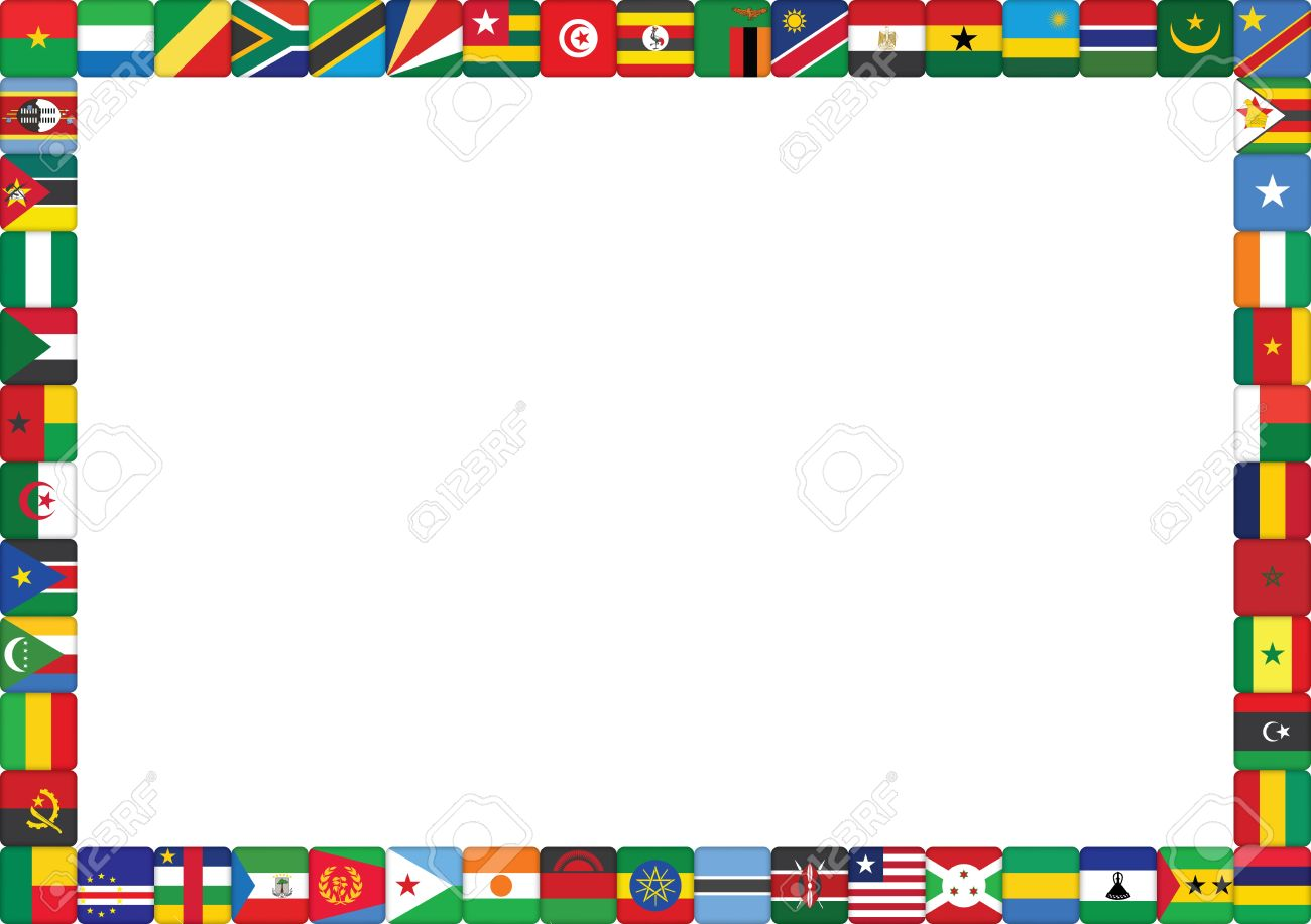 frame made of African countries flags vector illustration.