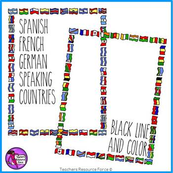Flag Borders Clipart Doodle Style (Spanish, French, German speaking  countries).