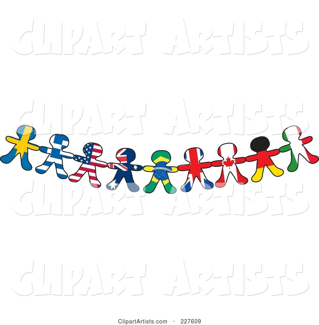 Border Of International Flag Paper Doll Flags Clipart by Maria Bell.