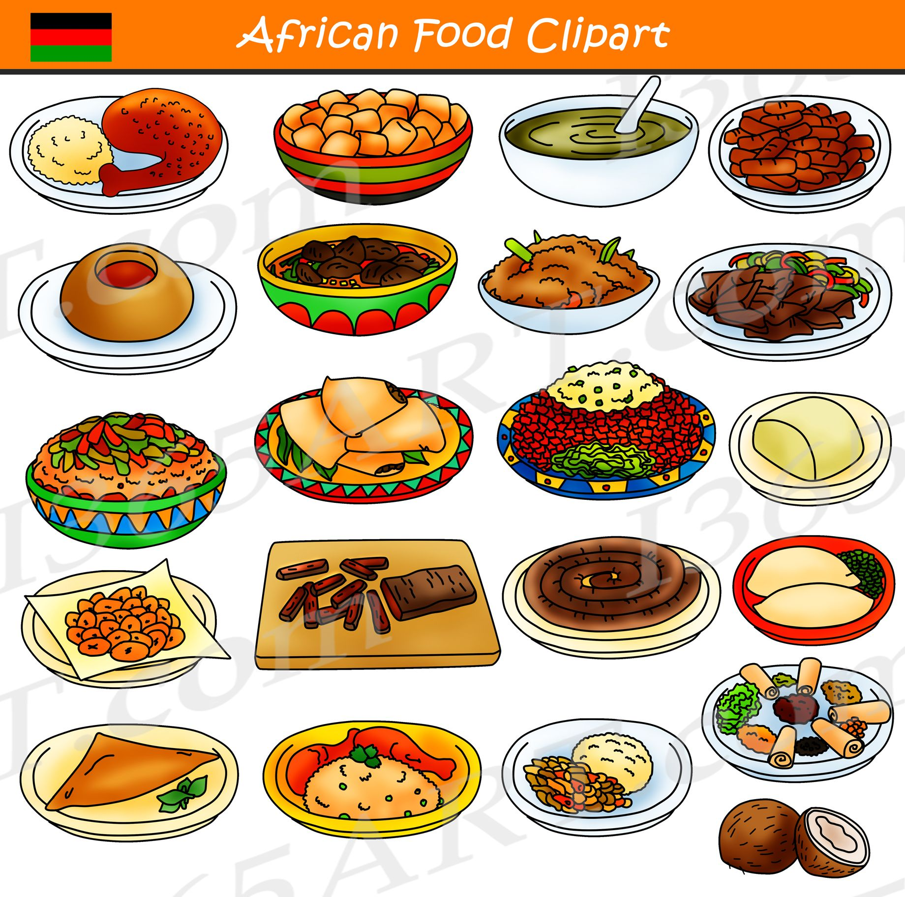 African Food Clipart Commercial Download.