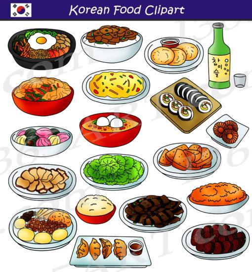 Korean Food Clipart Set.