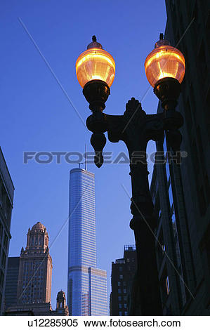 Stock Image of Lamp Post and Trump International Hotel and Tower.